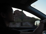 Debbie driving into the Desert Botanical Garden