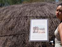 Informational plaque and traditional desert dwelling